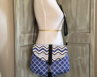 Chevron and Blue Crossbody Bag with an Adjustable Strap