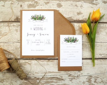 Wildflower Banner Wedding Invitation Set | Invite + RSVP | Sample set