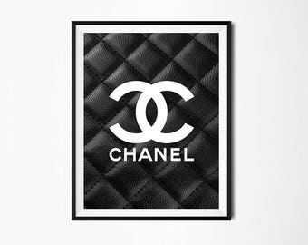 leather chanel logo chanel wall art coco chanel print. Black Bedroom Furniture Sets. Home Design Ideas