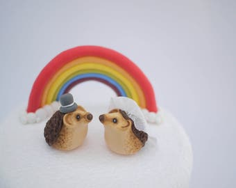 Hedgehog Bride and Groom Wedding Cake Topper (With or Without Rainbow)