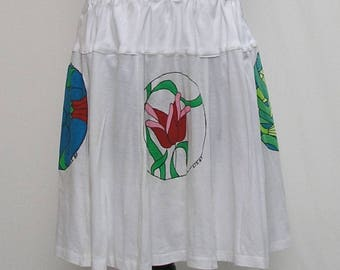 White Skirt, plus size skirt, upcycled t shirt skirt, 3x 4x 5x 6x skirt, hand painted t skirt, eco friendly skirt, refashioned skirt, blue