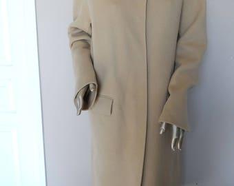 Vintage 1990's Long Camel Coat* Size 12 . DKNY COATS . Wool & Nylon . Made In Korea . Elegant .Tailored . Long . Classic . Warm .Fall.Winter