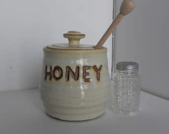 Honey Pot with Yellow Glaze