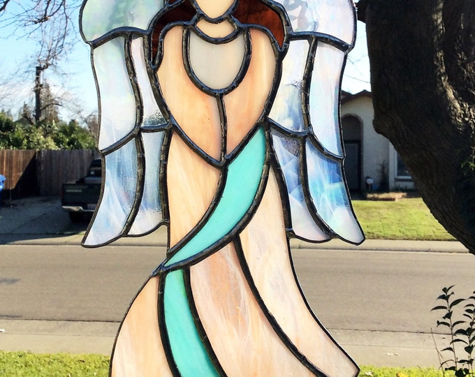 Stained Glass Angel, Angel Suncatcher, Tiffany Style, Guardian Angel Decor, Stained glass panel, Window Decor, Spiritual Art, Guardian Angel