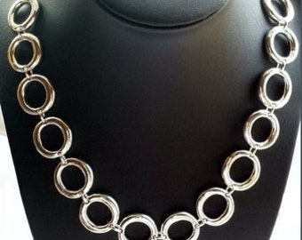 Noble large link chain, necklace in sterling silver