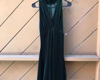 90s Emerald Green Velvet Mini Dress