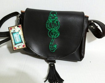 Harry potter inspired dark mark purse, small crossbody purse, hp bag, hp crossbody, skytherin purse, dark mark voldemort bag made to order