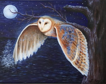Barn Owl Spirit Totem Painting