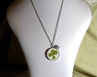 REAL Four Leaf Clover Necklace Silver Tree Lucky Cabochon