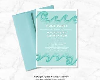 Pool Party Graduation Invitation Printable, Summer Celebration Invitation, Backyard Party Invite, Summer, Watercolor Summer BBQ, Graduation