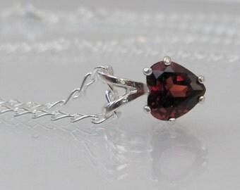 Garnet Heart Pendant, Sterling Silver, Garnet Necklace, 6mm Garnet Gemstone, January Birthstone, Valentine Gift, Red Garnet Jewelry, Bride