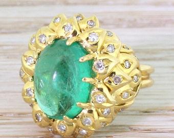 Retro 6.00 Carat Cabochon Colombian Emerald & Diamond Ring, circa 1945