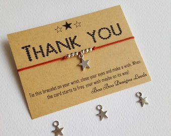 Thank you gift - Gift of thanks - Friendship bracelet - star charm - BFF gift - Party Favor - Wedding favor - Teacher gift - Thank you card