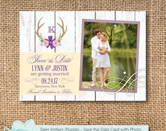 Deer Antlers Purple Save The Date Card with Photo Printable, Save Our Date, Picture, Photograph, Tying The Knot, Getting Married, 9D