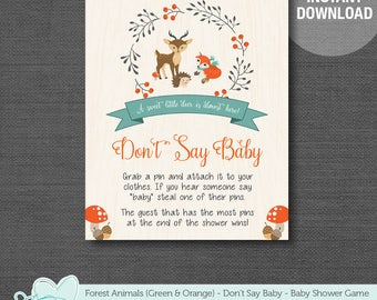 Forest Animals Don't Say Baby Green and Orange, Baby Shower Game Printable, Baby Shower Decor, Woodland Animals, Deer and Fox, 1F