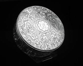 Antique Sterling Silver Cut Glass Jar, Grooming, Vanity, English, Hallmarked London 1880, Thomas Whitehouse, REF:340N