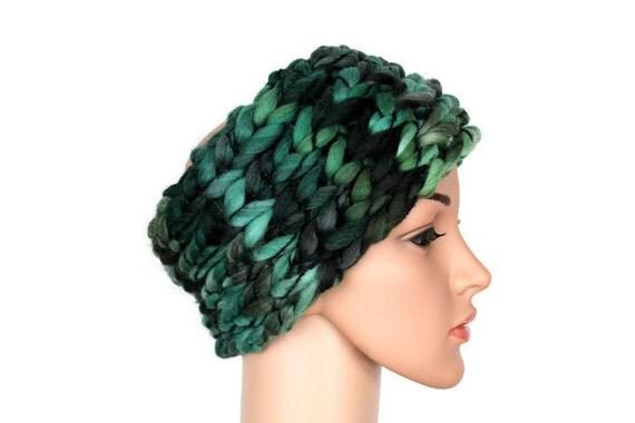 Wide Boho Headbands Wool Headwarmer Winter Headband Knit Boho Girls Headwrap Women Boho Earwarmer Big Wool Cowl Neck Gift for her Stocking