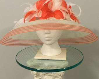 "White and Coral Kentucky Derby  Hat - ""Southern Women"""