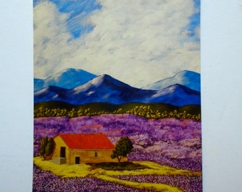 "Lavender Farm Print (ARTIST TRADING CARDS) 2.5"" x 3.5"" by Mike Kraus"