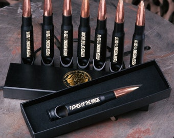 Groomsmen Gifts, Engraved Bullet Bottle Openers, Groomsmen Bullet Bottle Opener in Black, Engraved 50 Cal Bullet Bottle Opener Set of 7