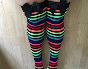 SALE Rhoda Rainbow Stripy Bows Lingerie Thigh High Stockings