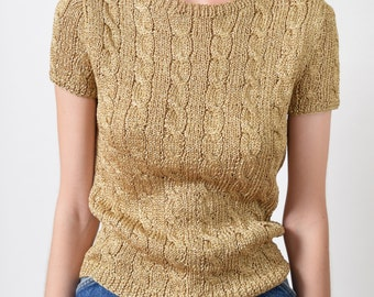 Ralph Lauren Metallic Gold Cable Knit Top 90s Vintage Short Sleeve Knit Sweater Top XS S