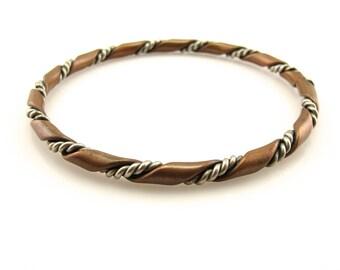 Vintage COPPER & STEEL Rope Twist BANGLE Bracelet