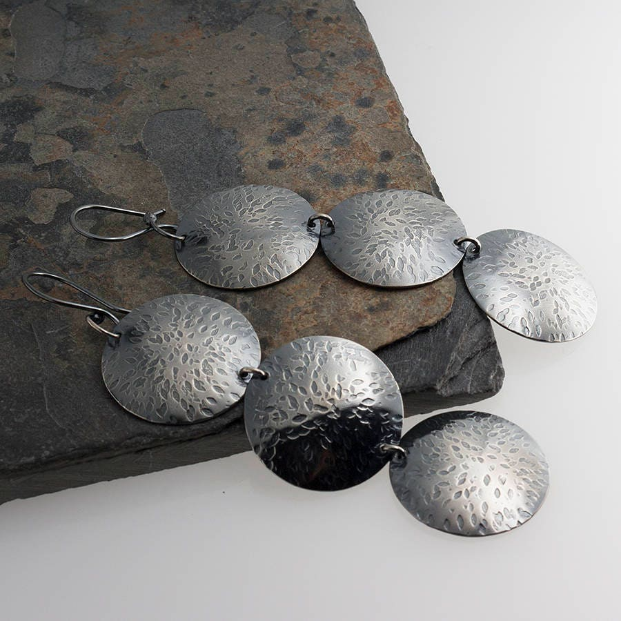 Disk Silvers: Three Large Disk Earrings Sterling Disc Earrings Silver