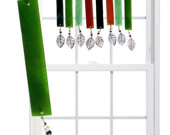 FALL WOODS (Moss green) Stained Glass Valance Suncatcher - Dark green, moss green, amber (FWM)