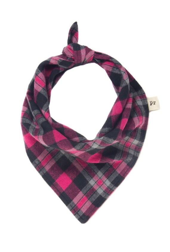 pink bandana flannel puppy scarf fuchsia plaid pet