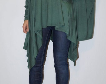 Loose Long  Blouse / Knit Oversized Top / Extravagant Tunic / Extra Long Sleeves/Green Top/Green Casual Tunic/ F1338