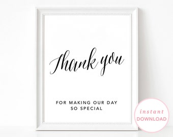 Thank You Sign, Printable Wedding Signs, Printable Wedding Poster, Wedding Sign, Wedding Thank You Poster, Thank you For Making Our Day