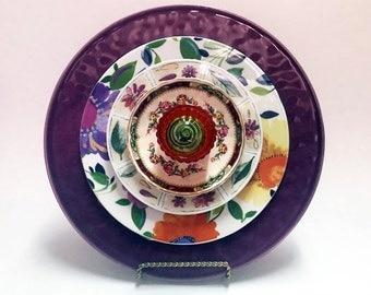 Lawn Decor - Glass Garden Flower - Garden Art - Plate Flowers - Glass Flowers - Dish Flowers - Outdoor Decor - Garden Decor - Home Decor