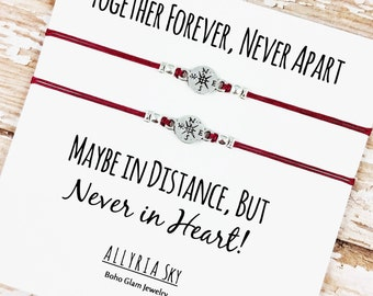 "Set of Two Compass Friendship Bracelets with ""Together Forever"" Card 