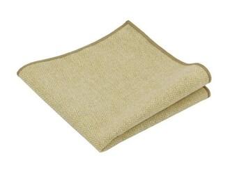 Beige Herringbone Wool Pocket Square.Beige Wool Hankies.Wedding. Gifts.