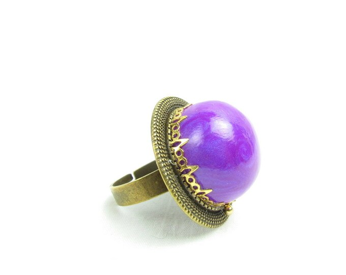 Hand Sculpted Purple Polymer Clay  Gunmetal Adjustable Ring
