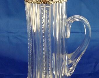 1898 Gorham sterling & Dorflinger ABC glass champagne pitcher