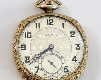 1926 Illinois pocket watch, Grade 405, 12s, 17j; 10 year gold filled case; running