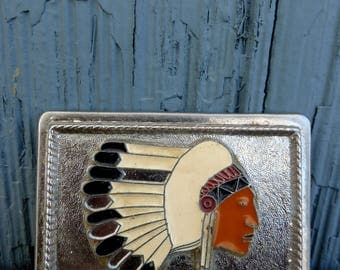 Native American belt buckle, silver color with enamel Indian design