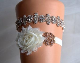 Wedding Garter Set Rose gold Bridal Crystal Wedding Garter Set Ivory Shabby Chic Bridal Garter White Rhinestone Garter and Toss Sash Belt