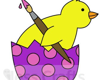 Cheery Chick Digital Stamp, Easter Chick Stamp, Easter Digital Stamp
