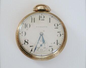 Hamilton Pocket Watch, 21 Jewels Railroad Hamilton Pocket Watch, Circa 1909, Antique 992 Hamilton Pocket Watch, Open face Watch Gift for Him