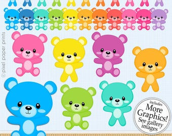 Bear clipart - COLORFUL BEAR - Digital Clip Art  - Personal and commercial use