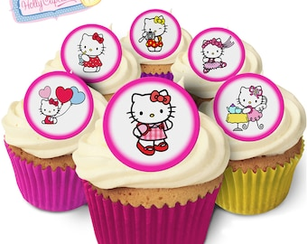 Hello Kitty: 24 Edible round wafer cake toppers. Designed and made in the UK!