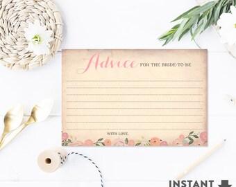 Bridal Shower Advice Cards Printable Digital Files, Floral Bridal Shower Games Printable (Instant Download)No.30BRIDE