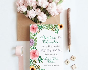 Save The Date - Floral, Flowers - Personalised