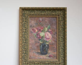 vintage still life painting pink flowers in vase  / antique floral roses framed oil painting signed M. Ro