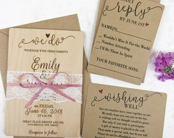 We Do Wedding Invitation Set with Lace | Custom Invite, Rustic Invitation, Laser Cut Invitation, Engraved Invitation, Real Wood Invitation