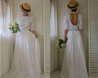 long sleeve wedding dress,2 piece wedding dress,wedding separates,long sleeve white dress,simple wedding dress,casual wedding dress