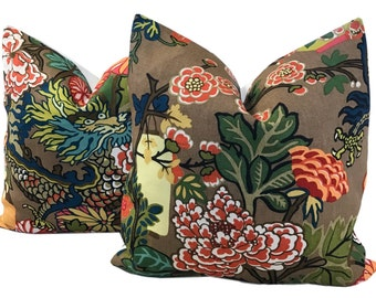 TWO Chiang Mai Pillow Dragon Pillow Chinoiserie Schumacher ONE PAIR w/Linen  Aquamarine Mocha Jade Alabaster China Blue